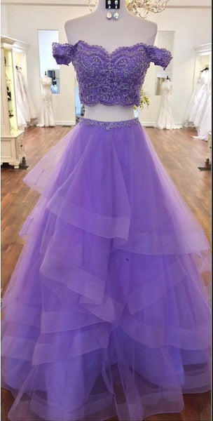 Charming Prom Dress, Sexy Off Shoulder Purple Appliques Tulle Prom Dresses, Two Piece Prom Gown S11269