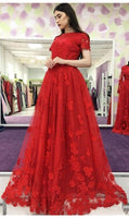 Short Sleeve Red Tulle Appliques Prom Dress, Long Prom Dresses, Formal Evening Dress S6753