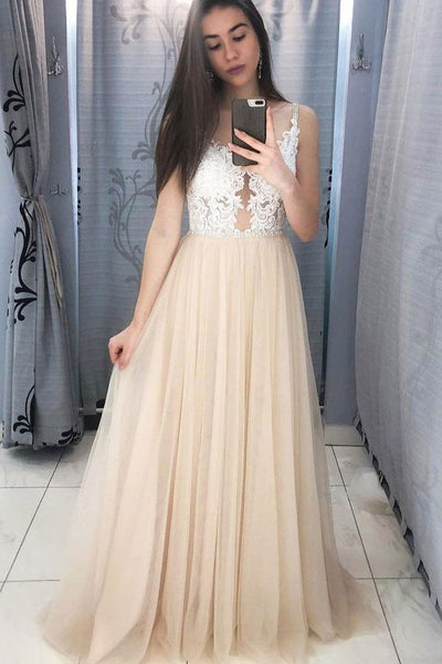 Elegant Champagne Long Prom Dress With Sheer Back  S6788