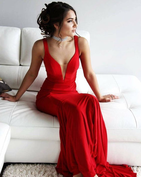 Simply Long Prom Dress, Red Prom Dress, Mermaid Prom Dress S6747