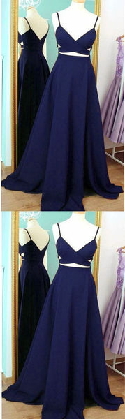 Navy Blue Chiffon Prom Dress Party Dresses, Straps Formal Dresses S6929