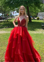 Red v neck tulle lace long prom dress, red evening dress,  S6872