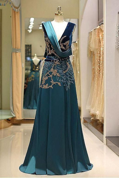 A Line V Neck Green Floor Length Satin Prom Dress with Backless Sequins Beading S6896