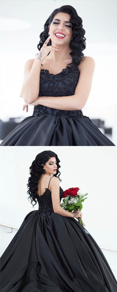 Prom Dresses Beautiful, Black Lace Embroidery V-neck Satin Ball Gowns Prom Dresses S8653