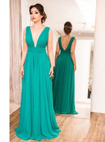 Plunging Neck Turquoise Blue Prom Dress S6792