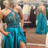 Spaghetti Straps Prom Dress,V-Neck Prom Dress,A-Line Prom Dress S11592