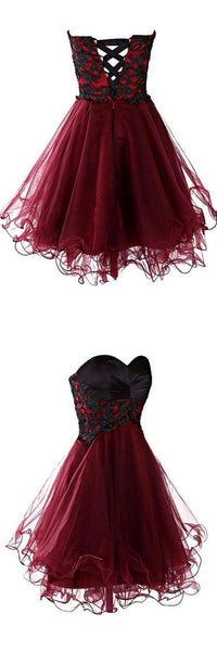 Lovely Cute Appliques Burgundy Sweetheart Organza Lace up Short Homecoming Dress S12215