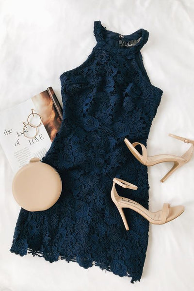 Love Poem Navy Blue Lace Mini Homecoming Dress  S12216