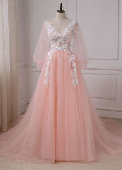 Charming Prom Dress,Tulle Prom Dress,Appliques Prom Dress,Long-Sleeves Ball Gown  S6797