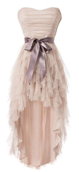 Simple Strapless Tulle Homecoming Dresses S12176