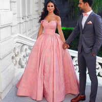 Pink prom dresses sweetheart neckline off the shoulder ball gown lace formal dresses evening dress gowns S6868