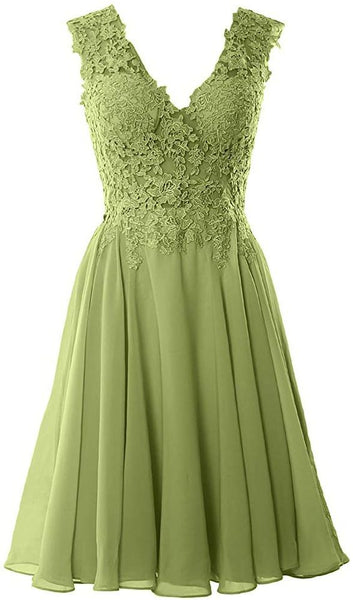 V Neck  Party Dress Short Lace Prom Homecoming Formal Gown S6856
