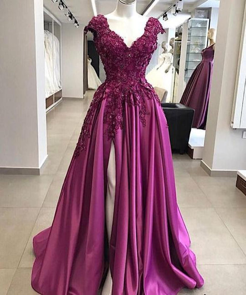 cap sleeve fuchsia prom dresses long satin lace appliqué beaded v neck elegant S11024
