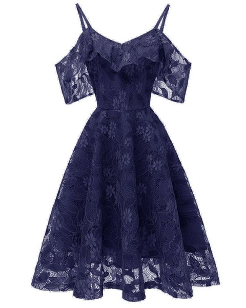 Cheap Navy Blue Short Lace Dress A Line Homecoming Dress S11098