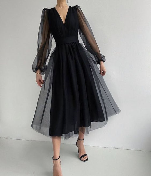 Unique Black Tulle Long Sleeves Prom Dress  S9685