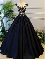 Black Sheer Round Neck Lace Appliqués Satin Princess Ball Gown S6724