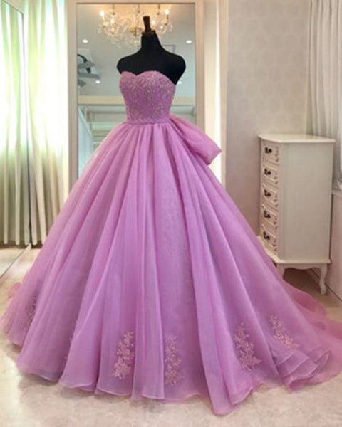 Sweetheart neck lavender tulle formal prom gown, evening dress with bowknot S6707