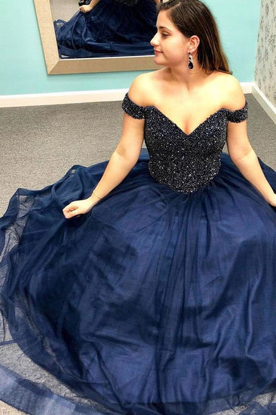 Off the Shoulder Navy Blue Long Prom Dress with Beading Top S11764