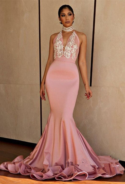 Pink Mermaid Sexy Prom Dress,Beaded Halter Evening Dress,Backless Party S6684
