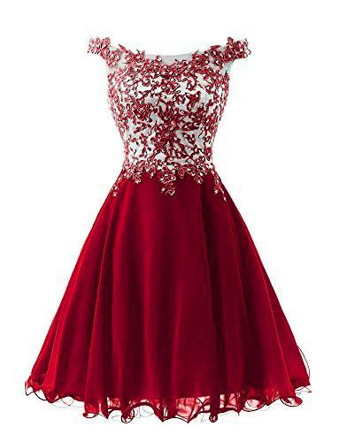 Wine Red Short Chiffon And Applique Lovely Homecoming Dress S11199