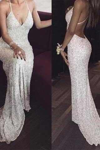 White sequin mermaid long prom dress for teens sequin evening dress  S8056