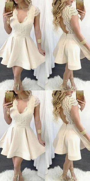 champagne cap sleeve homecoming dresses short v neck elegant satin S11007