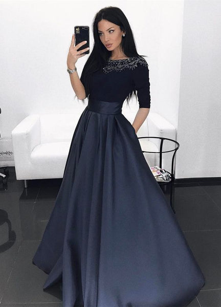 A-Line Bateau Dark Navy Satin Evening Prom Dress with Beading S6691