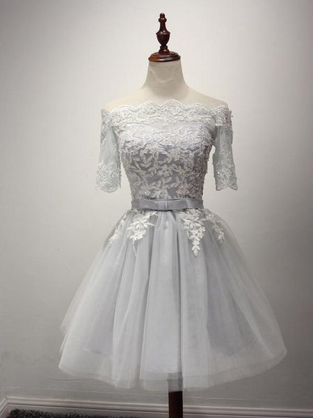 Gray Short Lace Homecoming Dresses S12208