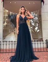 Navy Blue Beaded Prom Dresses Long V Neck Spaghetti Straps Cheap Senior Formal Dress Prom Gown S11635