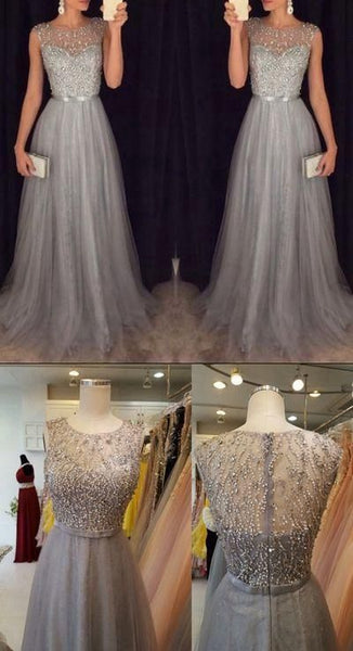 Fashion Prom Dresses Beaded Top With Tulle dress S11604