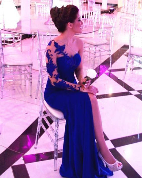 Simple Prom Dress, Charming Sheath One Shoulder Royal Blue Side Slit Long Prom Dresses S8672