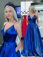 Royal Blue Prom Dress with Pockets  S11128