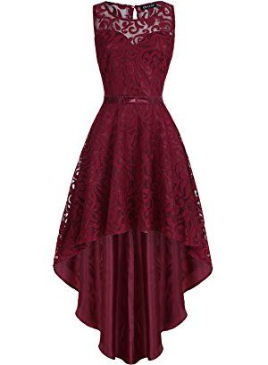 Vintage Elegant Floral Lace Sleeveless High Low Homecoming Dress S10667
