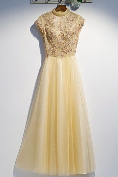 Unique Yellow Tulle High Neck Long Senior Prom Dress With Applique S7140