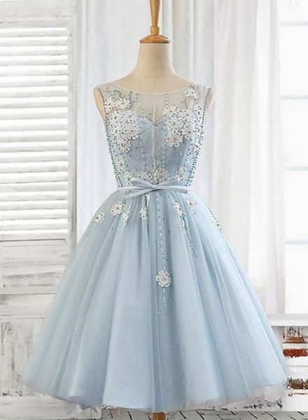 Light Blue Round Neckline Short Homecoming Dress S11355