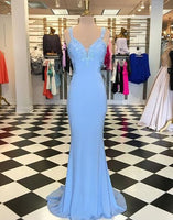 Elegant blue mermaid lace prom dress,backless evening dresses S11869