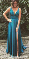 Simple Sexy A-Line Spaghetti Straps Long Turquoise Prom Dress with Split S7069