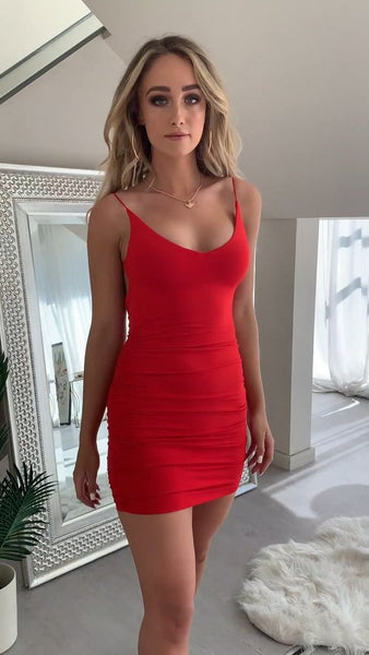 Red Straps Short Homecoming Dress  S10643