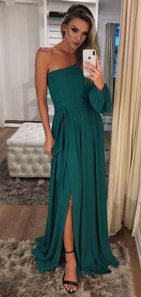 One Shoulder Long Sleeve Teal Chiffon Prom Dresses  S11257