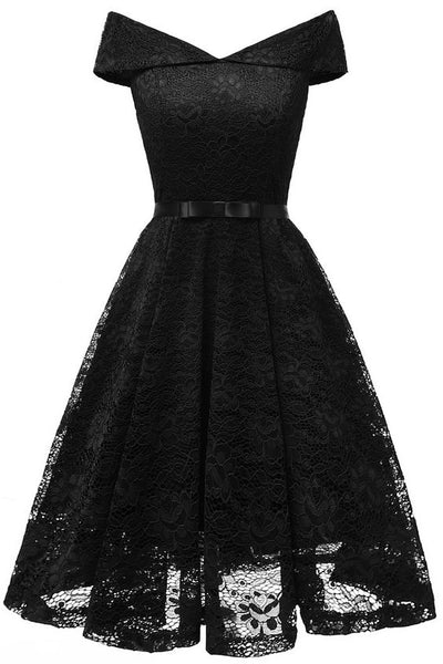 Women's Vintage Off Shoulder Lace Homecoming Dress S12174