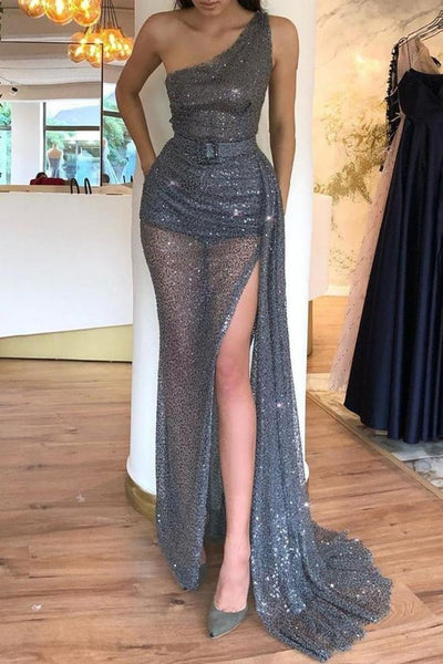 Sexy Gray One Shoulder Belt Slit Long Prom Dress  S11581