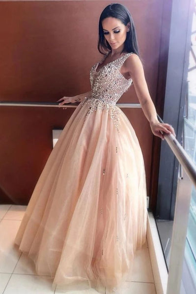 Sparkly A-line V-neck Beading Bodice Tulle Long Prom Dress S12088