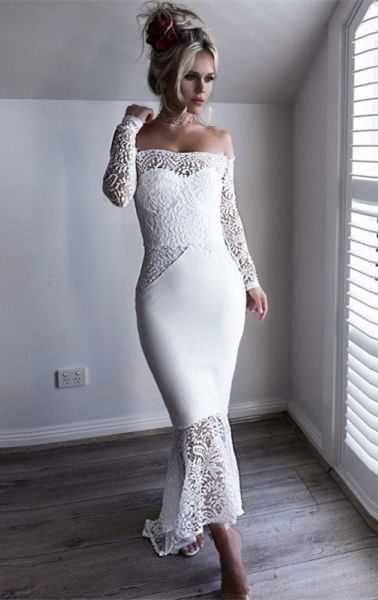 Mermaid Off the Shoulder Long Sleeve Asymmetry White Prom Dress with Lace S6734