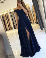 Lace Appliques Off Shoulder Long Chiffon Prom  Dresses  S6658