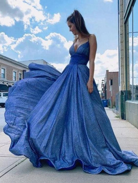 V neck long prom dress, simple evening dress  S11134