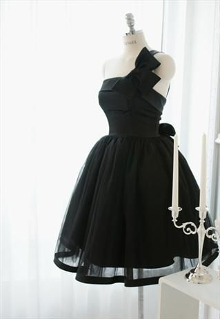 One shoulder Black Bow Homecoming Dress S10355