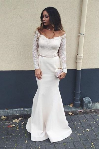 Charming Lace Mermaid Evening Dress, Long Sleeve Prom Dresses S11289