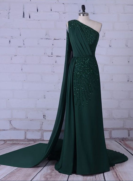Green Party Long Formal Dress , Unique  Prom Dress With  Beading  S6895