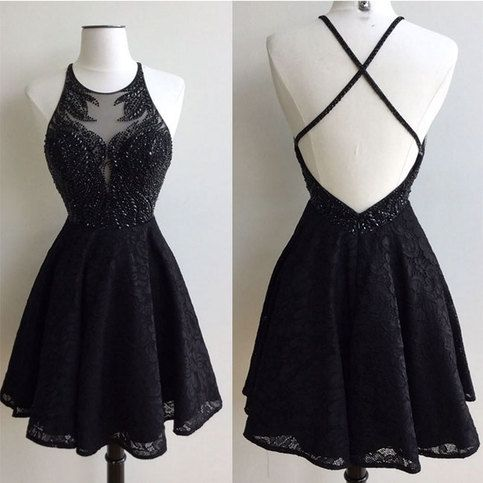 Black round neck lace beaded short cute homecoming dress S12209
