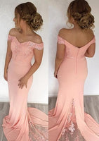 Elegant Off-the-shoulder Mermaid Evening Dress With Lace Appliques  S6994